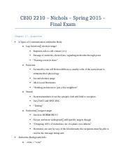 CBIO 2210 - Final Exam Review