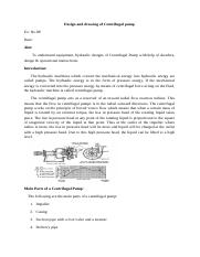 Design and drawing of Centrifugal pump