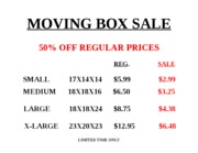 MOVING BOX SALE SIGN