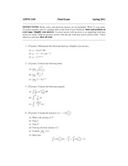 Final Exam Spring 2011 on Calculus with Algebra
