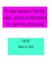 CRI 387 March 15 admin law liquor laws