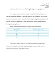 IB Math Year 1 Relationships between Speed and Thinking Paper