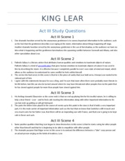 King Lear - Act III Review Questions