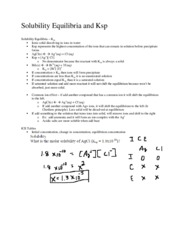 Solubility Equilibria and Ksp