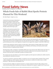 Whole Foods Sale of Rabbit Meat Sparks Protests Planned for This Weekend _ Food Safety News