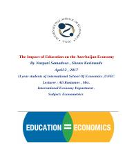 Sample assignment _ Impact of Education on The Azerbaijan Economy.docx