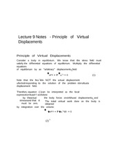 Lecture 9 Notes Principles of Virtual Displacement