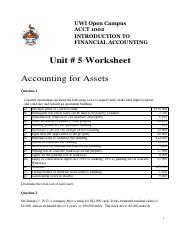 Unit 5 Tutorial Worksheet