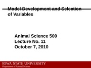 Lecture 11 Model Development and Selection of Variables