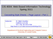Cascading Style Sheets - Page Layout - Part 1