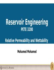 Relative Permeability and Wettability
