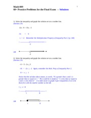 60+ review problems Math 009 -- Solutions