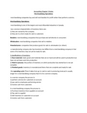Merchandising Operations notes