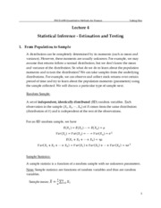 Lecture 4 - Statistical Estimation and Inference