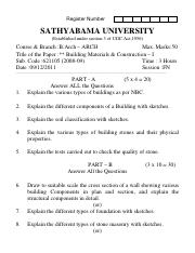 (www.entrance-exam.net)-Sathyabama University-B.Arch 1st Sem Building Materials & Construction - I S