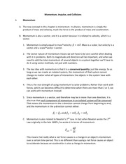 Chapter 9 notes Momentum, Impulse, Collisions