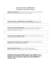 engstrom auto mirror plant case study Root cause case study analysisa) identify root causes of known organizational issues from a human behavior perspectiveb) analyze root causes from a human behavior perspective and validate the analysis withsupportive research evidence.