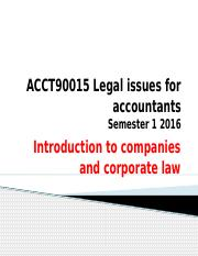 Introduction to companies and corporate law  2016