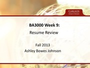 Lecture 9 Notes, Resume Review  Cover Letters