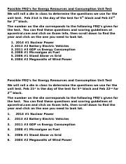 Possible FRQ's for Energy Test