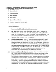 Chapter 5-Lecture Notes on Bonds and Bond Valuation