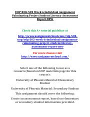 UOP RDG 502 Week 6 Individual Assignment Culminating Project Student Literacy Assessment Report NEW.
