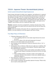 Japanese Theater & The Four Major Plays