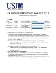 USJ ENTREPRENEURSHIP AWARDS 2019 - Description.docx