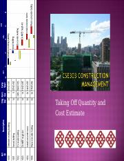 CSE303  Construction Management Topic 11 Qunatity takeoff and cost estimate.ppt