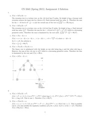 Homework 3 Solution on Analysis of Algorithms Spring 2015