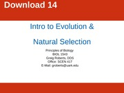 Chapter 14 Intro to Evolution and Natural Selection