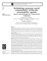 Rethinking corporate social responsibility within the sustainability agenda-Issues and challenges fo
