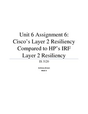 Unit 6 Assignment 6 - Cisco's Layer 2 Resiliency Compared to HP's IRF Layer 2 Resiliency