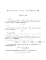 Homework 3 Solution on Probability I Spring 2015