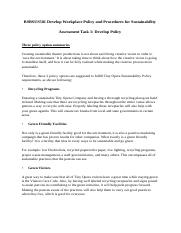 BSBSUS501 Develop Workplace Policy  and Procedures for Sustainability - Task 1 - PNook