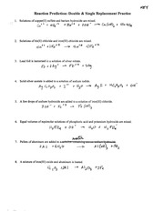 Chemistry Double \u0026 Single Replacement Worksheet - Reaction Prediction Double \u003c Single Replacement Practice 1 Solutions of copper(II sulfate and