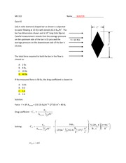 Quiz 2 Solution on Applied Fluid Mechanics and Thermodynamics