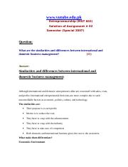 Entrepreneurship - MGT602 Special 2007 Assignment 03 Solution (1)