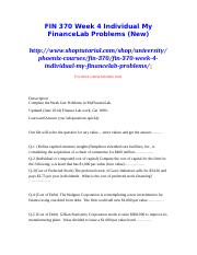 FIN 370 Week 4 Individual My FinanceLab Problems (New)