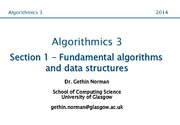Algorithmics 3 Section 1 Notes (Fundamental Algorithms and Data Structures