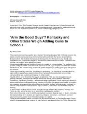 'Arm the Good Guys'? Kentucky and Other States Weigh....docx