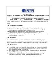 Teaching Plan BTMT 4193