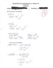 calc MATH 1823 Quiz 3 Solutions
