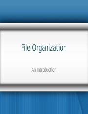 File Organization Lec1
