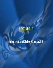 Lecture 4  International Sales Contract III.ppt