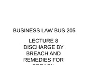Business Law Discharge by breach and remedies lecture notes