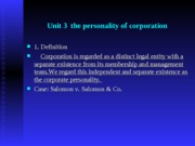Unit 3  the personality of corportion