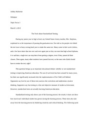 Topic Focus 1 Essay