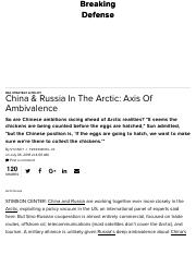 FREEDBERG- China & Russia In The Arctic: Axis Of Ambivalence .pdf