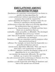 EMULATIONS AMONG ARCHITECTURES
